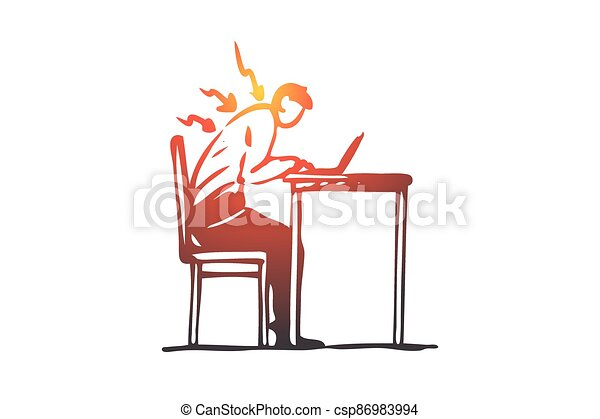 Posture, bad, spine, sit, table, wrong concept. Hand drawn isolated vector. - csp86983994