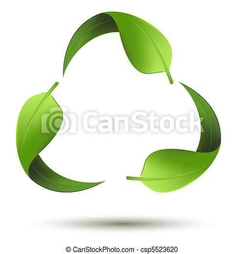 Recycle symbol with leaf - csp5523620