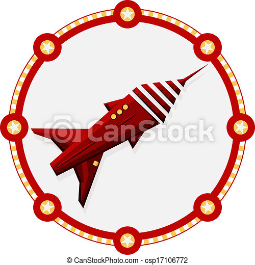 Red space rocket with a round frame - vector - csp17106772