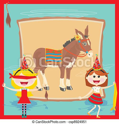 Retro Donkey Party Invitation - csp8924951