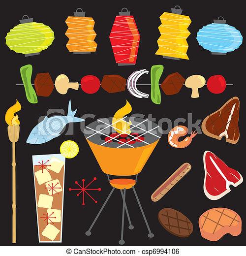 Retro Evening Barbeque Party - csp6994106