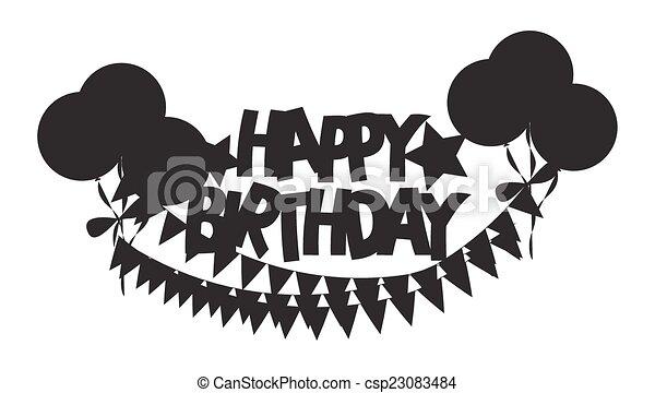 Retro Shape of Birthday Banner - csp23083484
