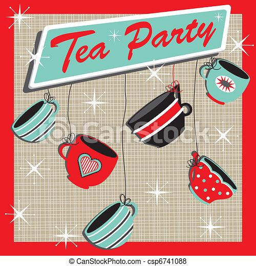Retro Tea Party Invitation - csp6741088
