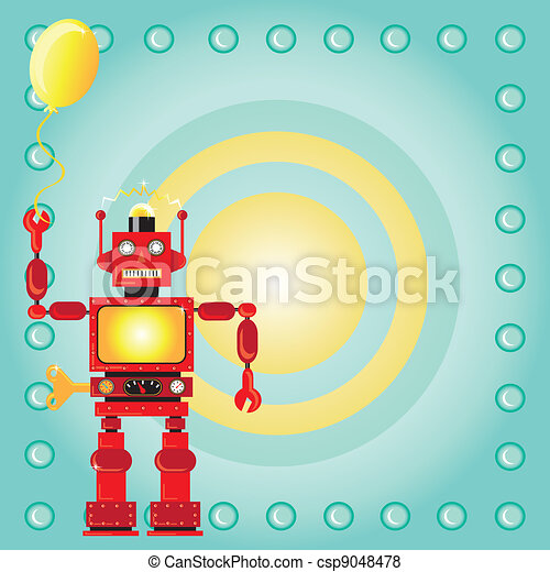 Robot Birthday Party Invitation - csp9048478
