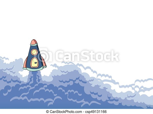 Rocket launch, space ship and cloud of smoke. Vector illustration with copy space. - csp49131166