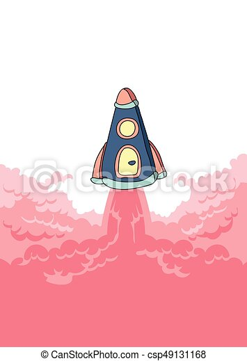 Rocket launch, space ship and cloud of smoke. Vector illustration with copy space. - csp49131168