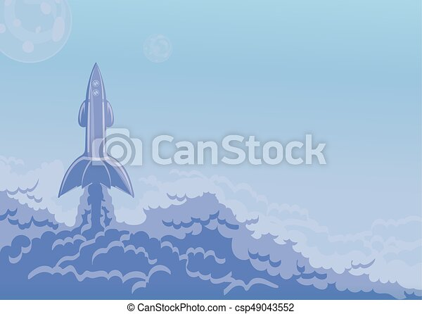 Rocket launch, space ship and cloud of smoke. Vector illustration with copy space. - csp49043552