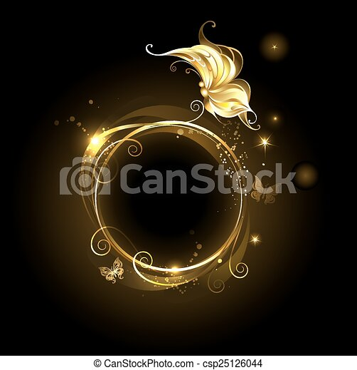 round banner with golden butterfly - csp25126044