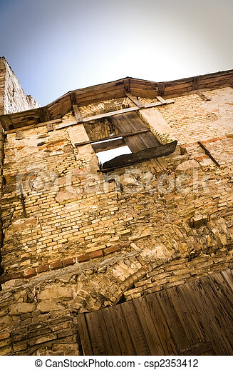 Ruined house and window - csp2353412