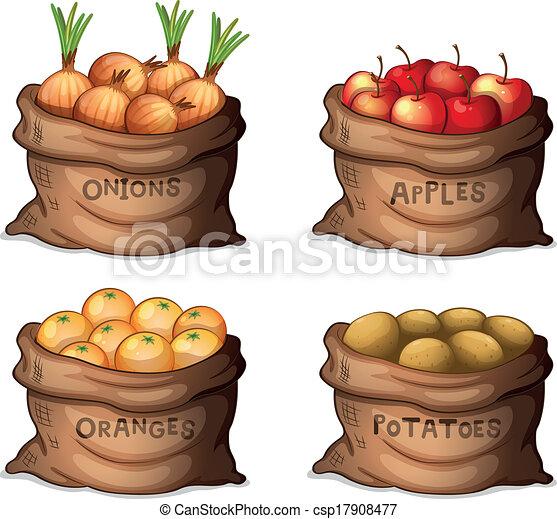 Sacks of fruits and crops - csp17908477