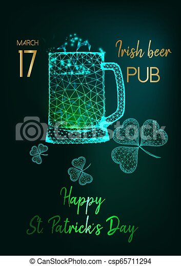Saint Patricks Day party invitation flyer with glow low poly beer mugs, shamrock and text on green - csp65711294