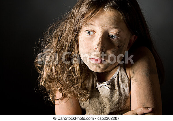 Scared and Filthy Brown Haired Child - csp2362287