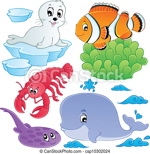 Sea fishes and animals collection 5 - csp10302024