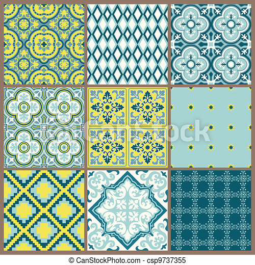 Seamless backgrounds Collection - Vintage Tile - for design and scrapbook - in vector - csp9737355