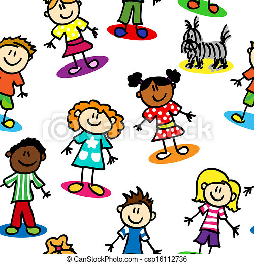 Seamless stick figure kids - csp16112736