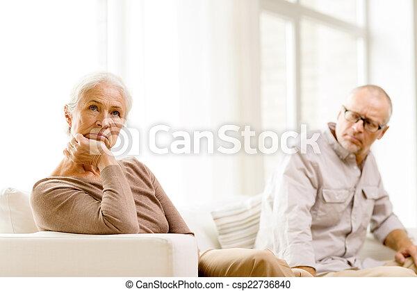 senior couple sitting on sofa at home - csp22736840