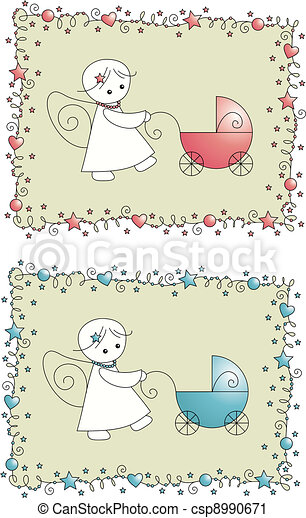 set baby arrival greeting card - csp8990671
