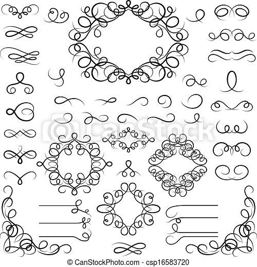 Set of curled calligraphic design elements. - csp16583720
