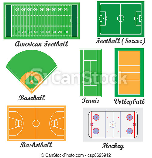 Set of fields for sport games. - csp8625912