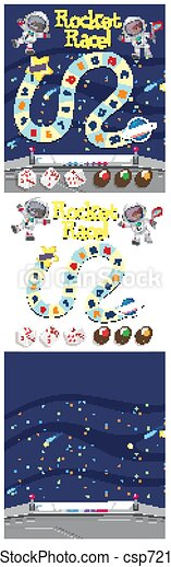 Set of game background with rocket in space - csp72119052