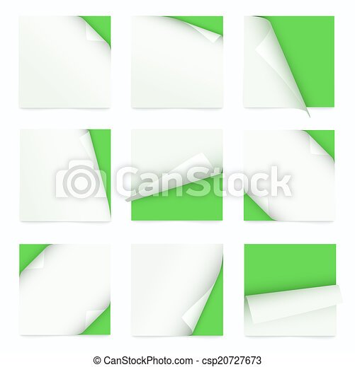 set of note paper with curled corner - csp20727673