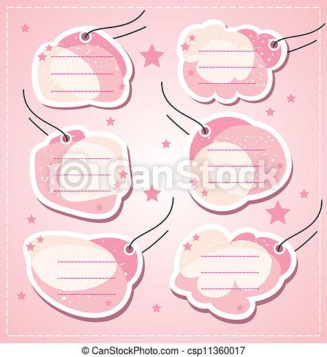 set vector baby girl blank tags - csp11360017