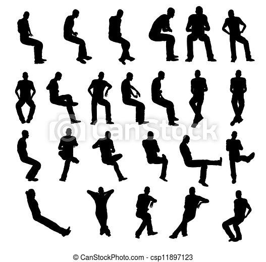 Silhouette man sitting - csp11897123