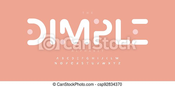 Simple dimple alphabet letter font. Modern logo typography. Minimal rounded typographic design. Softed type for popit game logo, kids room headline, title, play zone lettering, children game branding - csp92834370