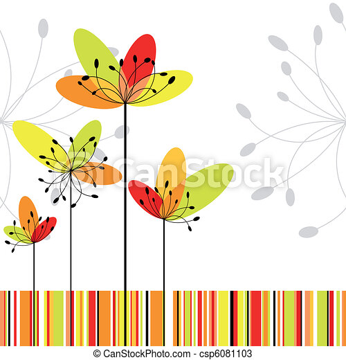 Springtime abstract flower on colorful stripe background - csp6081103