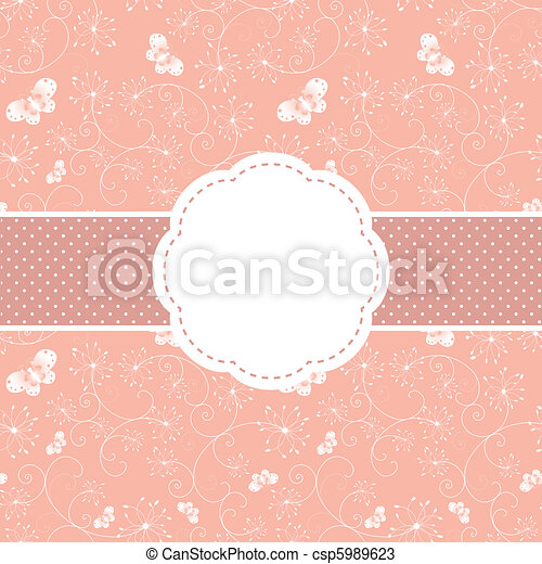 Springtime pink floral and butterfly greeting card - csp5989623
