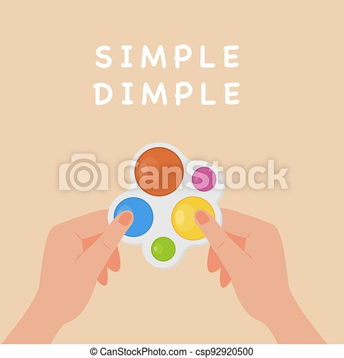 Square banner with adult hands holding Simple Dimple fidget. Pop it toy. Popular trend to push bubbles. Antistress Sensory fidgets. Children trend. Vector illustration in flat style. - csp92920500