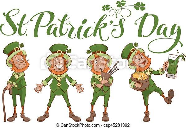 St. Patricks day lettering text. Set fun cartoon man - csp45281392