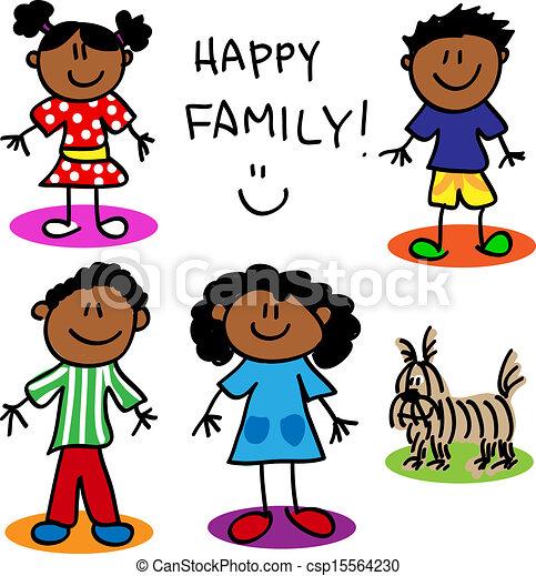 Stick figure black family - csp15564230