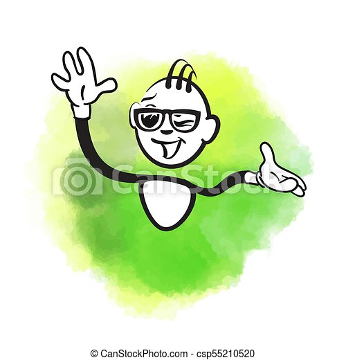Stick figure happy greeting - csp55210520