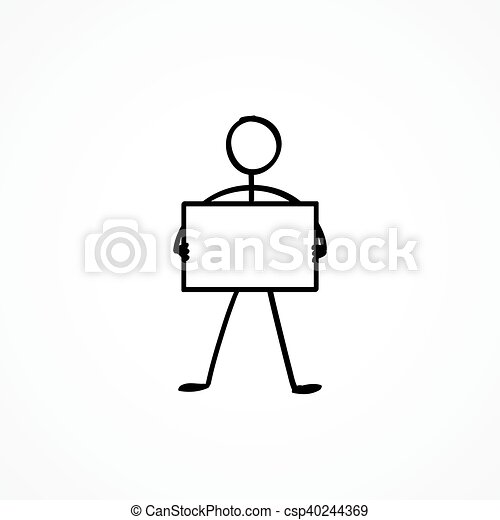 Stick figure with a sign plate - csp40244369