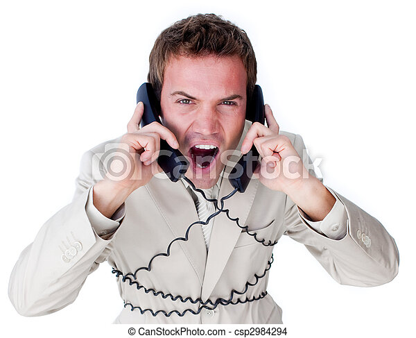Stressed businessman tangle up in phone wires - csp2984294