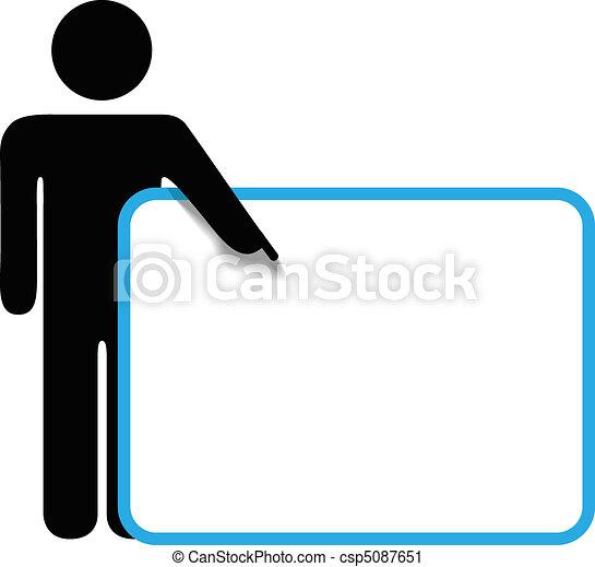 Symbol person stick figure points finger sign copyspace - csp5087651