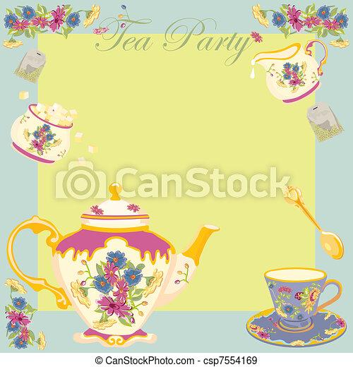 Tea Party Garden Party Invitation - csp7554169