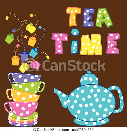 Tea time with stacked cups and kettle - csp22604659