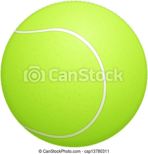 Tennis ball on white background - csp13780311
