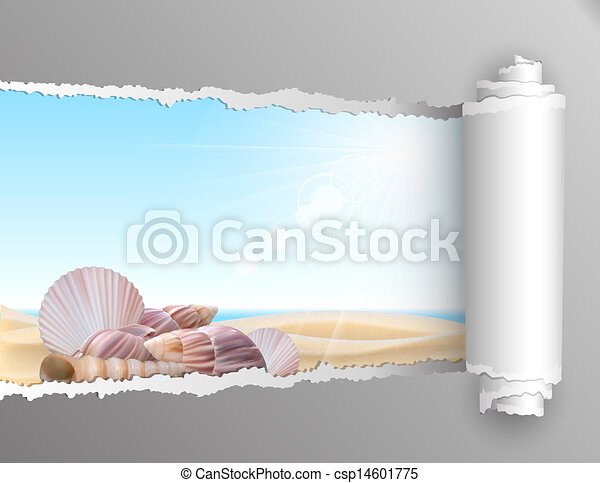 Torn paper with summer background. - csp14601775