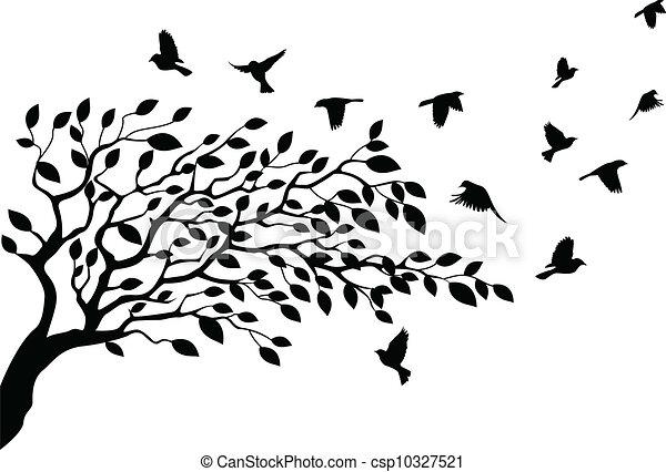Tree and bird silhouette - csp10327521