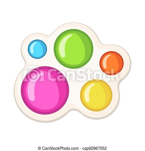 Trendy antistress sensory toy Simple Dimple fidget in flat style isolated on white background. - csp92967052