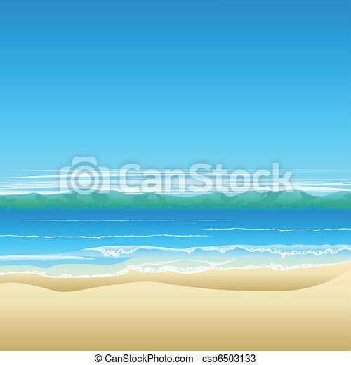 Tropical beach background illustration - csp6503133