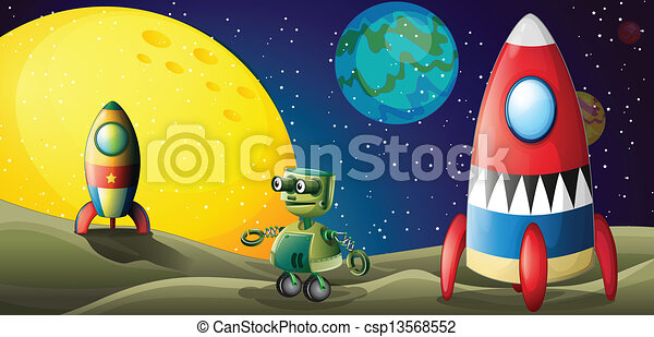 Two aircrafts and a robot in the outerspace - csp13568552