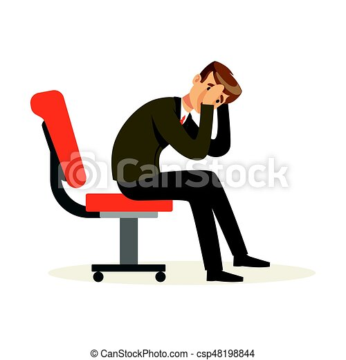Unfortunate businessman dissatisfied with his work sitting on the chair, unsuccessful character vector Illustration - csp48198844