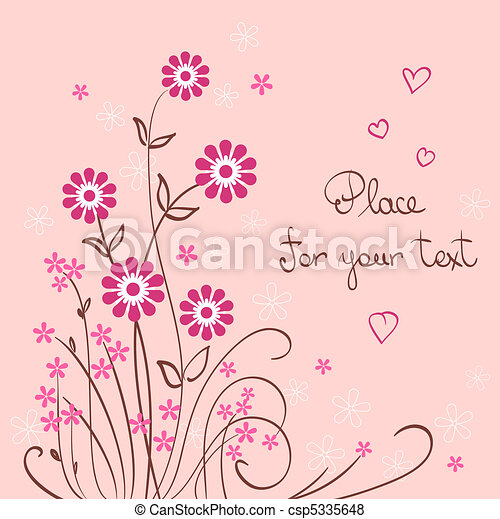 valentine vector background with flower and heart - csp5335648