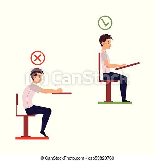 vector correct, incorrect head sitting at desk - csp53820760
