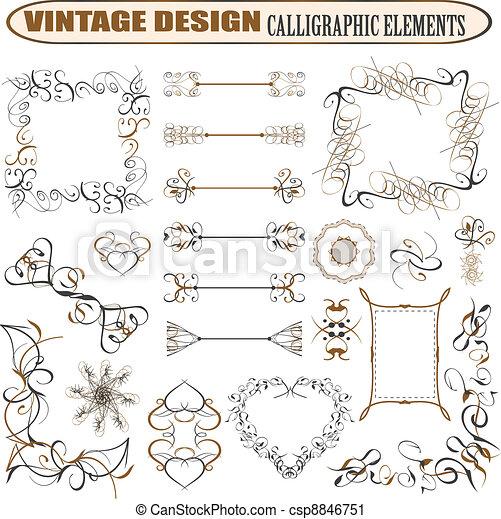 Vector decorative ornate design elements & calligraphic page decorations - csp8846751