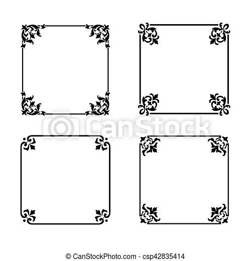 Vector decorative square ornate design elements & calligraphic page decorations - csp42835414